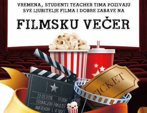 """Poziv studentima svih studijskih smjerova na """"Filmsku večer"""""""