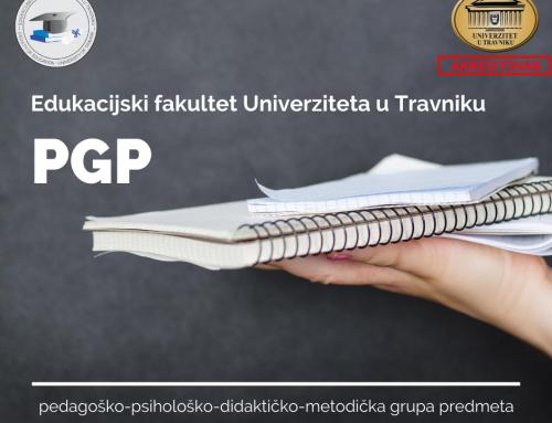 Pedagoška grupa predmeta: U toku prijava kandidata za upis u grupu maj 2021.