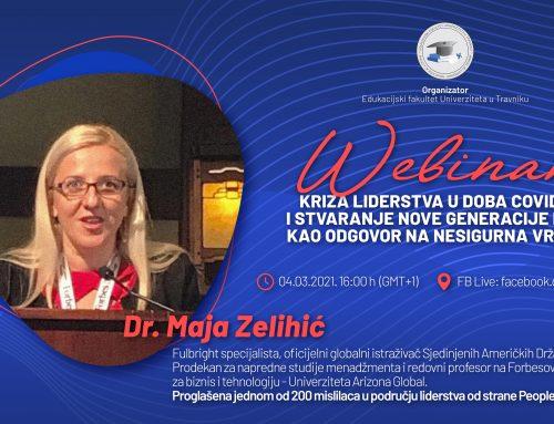 """DR. MAJA ZELIHIĆ: """"Elastično vodstvo"""" je izlazni put iz krize COVID -19!"""